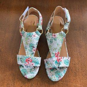 Aerosoles floral size 5 cork wedge sandals